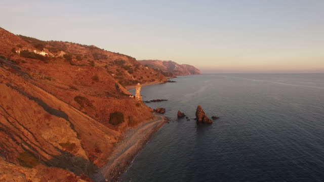 aerial shot of a rocky coast - andalucia stock videos & royalty-free footage