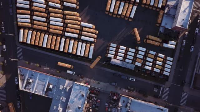 Aerial shot of a school bus garage in Brooklyn, New York.