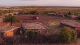 Aerial shot of a settlement in Maasai land
