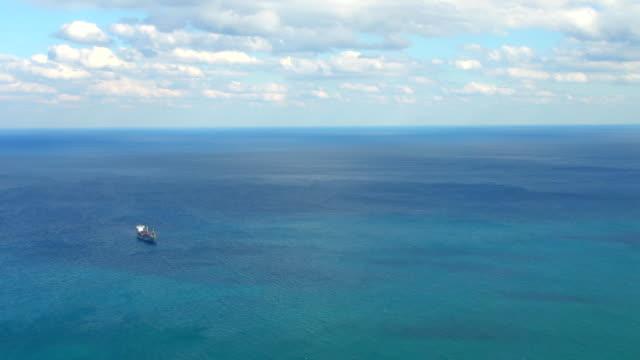 hd: aerial shot of a ship - atlantic ocean stock videos & royalty-free footage