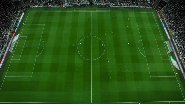 aerial shot of a soccer match - sports round stock videos & royalty-free footage