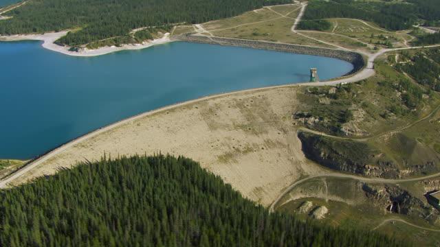 Aerial Shot Of Abraham Lake Dam