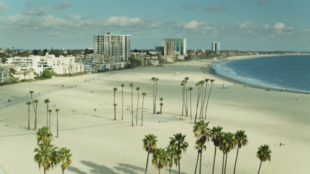 aerial shot of alamitos beach, long beach - long beach california stock videos & royalty-free footage