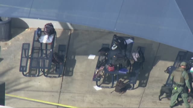 aerial shot of an officer and a bomb sniffing dog checking student's backpacks after a shooting at saugus high school in santa clarita california - santa clarita stock videos & royalty-free footage