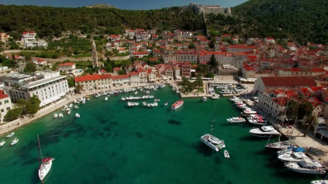 Aerial Shot of Ancient Village Hvar Harbor