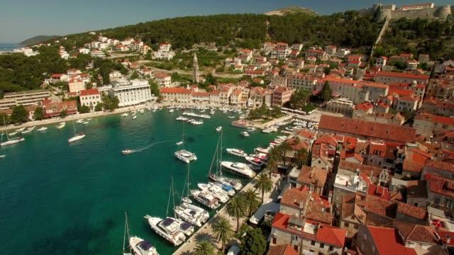 Aerial Shot of Ancient Village Hvar Harbor
