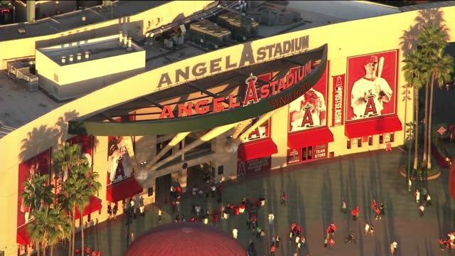 aerial shot of angel stadium - angel stadium stock videos & royalty-free footage