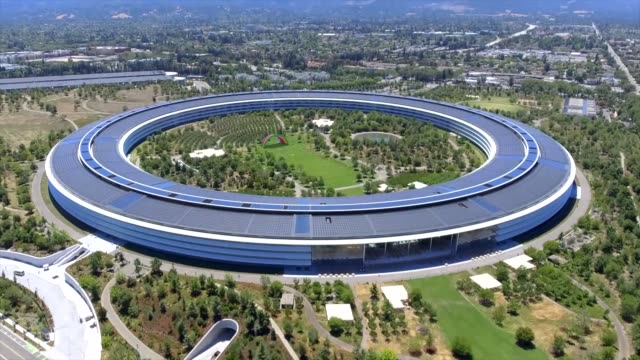 aerial shot of apple park. cupertino, california, usa. - big tech stock videos & royalty-free footage