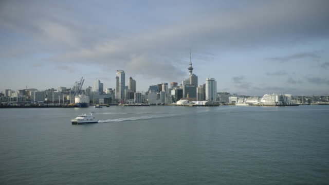 aerial shot of auckland city and the waitemata harbour - auckland ferry stock videos & royalty-free footage