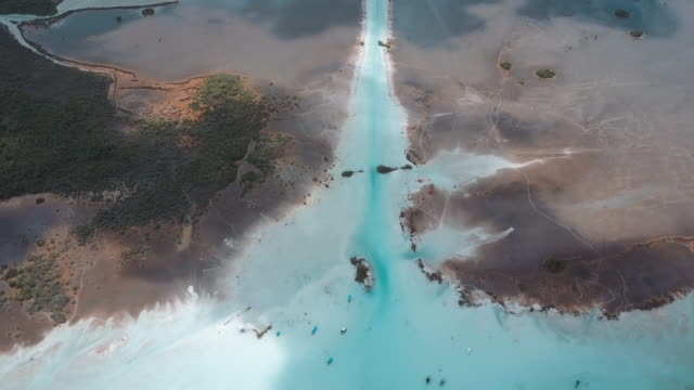 Aerial shot of Bacalar Lagoon in Mexico