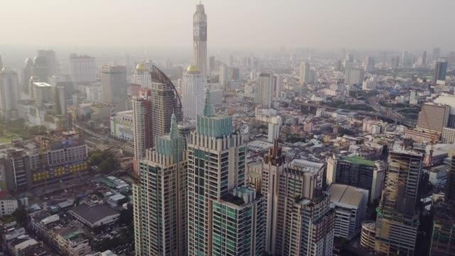 Aerial shot of Bangkok City financial district
