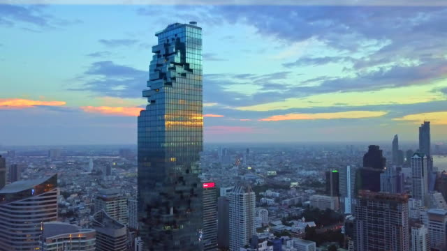 aerial shot of bangkok city, silom/sathon central business district with mahanakhon tower - bangkok stock videos & royalty-free footage