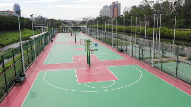 aerial shot of basketball court - basketball ball stock videos & royalty-free footage