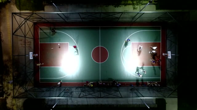 aerial shot of basketball court - basketball sport stock videos & royalty-free footage
