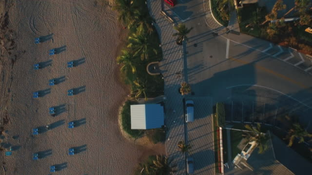 Aerial shot of beach boardwalk