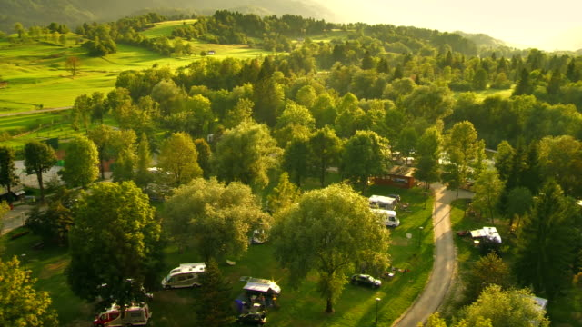 aerial shot of beautiful campground - motor home stock videos and b-roll footage