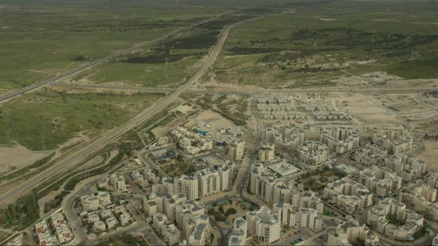 aerial shot of beer sheba - ネゲブ点の映像素材/bロール