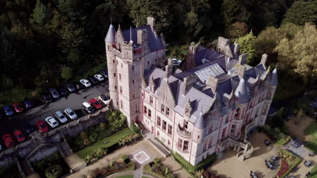 aerial shot of belfast castle during the autumn of 2017 in 4k. - belfast stock videos & royalty-free footage