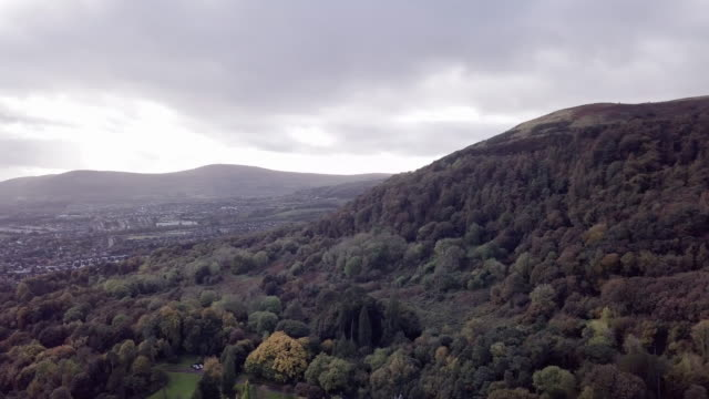 Aerial shot of Belfast, Ireland on a dramatically cloudy fall afternoon