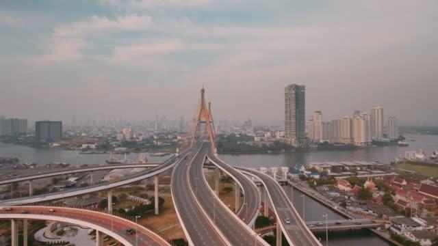aerial shot of bhumibol bridge - motorway junction stock videos & royalty-free footage