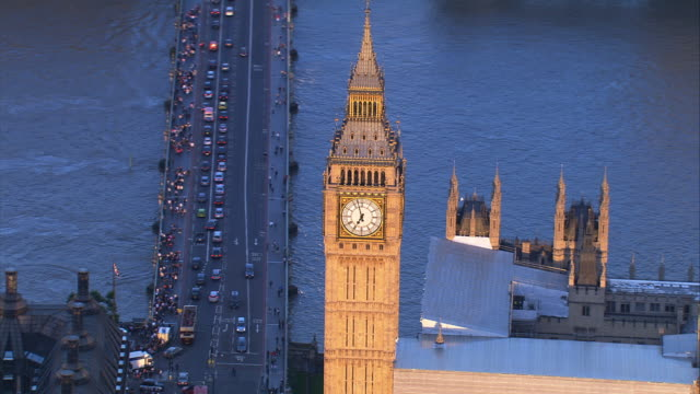 aerial shot of big ben, london, uk - big ben stock videos & royalty-free footage