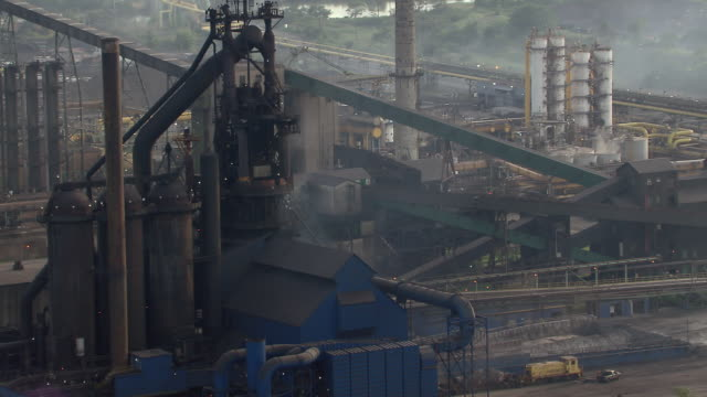 Aerial shot of blast furnace in Detroit steel mill.