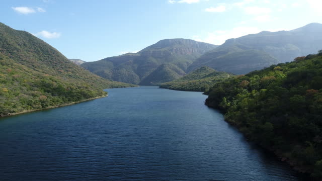 aerial shot of blyde river - blyde river canyon stock videos and b-roll footage