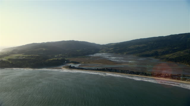 aerial shot of bolinas lagoon. the lagoon is part of a national marine sanctuary, and is an important wetland area. - faglia di sant'andrea video stock e b–roll