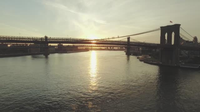 Aerial shot of bridges in New York cityscape, New York, United States