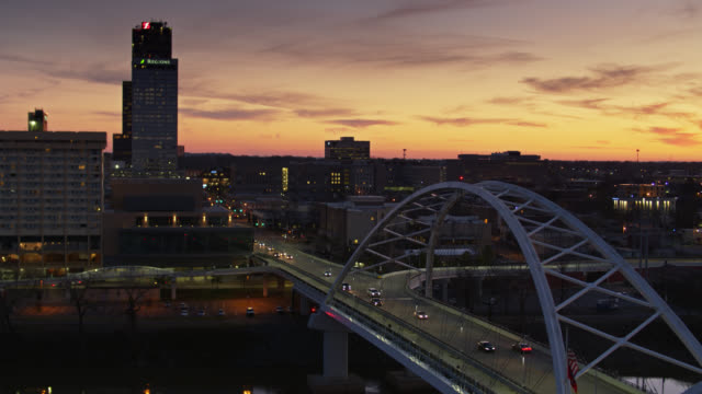 aerial shot of broadway bridge and downtown little rock at sunset - arkansas stock videos & royalty-free footage