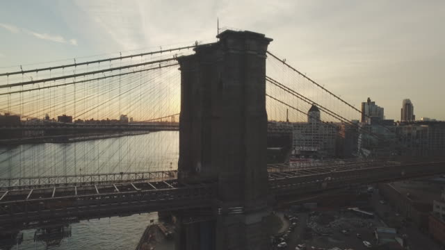 Aerial shot of Brooklyn Bridge, New York, New York, United States