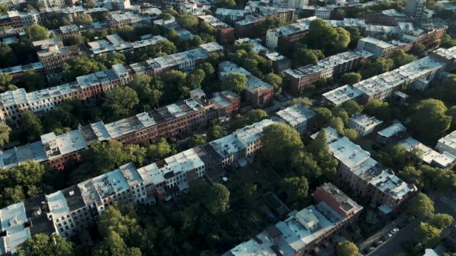 aerial shot of brooklyn brownstones - brooklyn new york stock videos & royalty-free footage