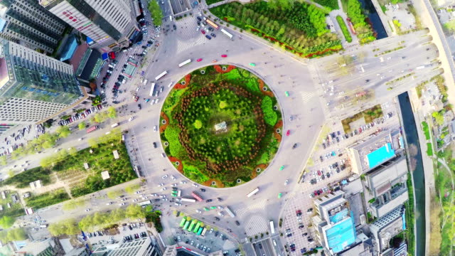 WS Aerial shot of busy traffic circle, Xi'an,China.