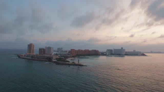 aerial shot of cancun skyline, maya rivera, mexico - mayan riviera stock videos & royalty-free footage