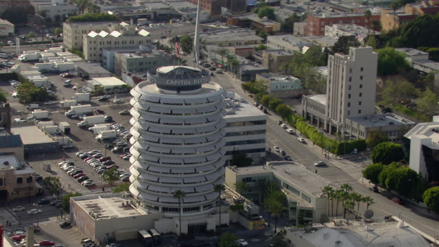 Aerial shot of Capitol Records Tower in Hollywood, Los Angeles.