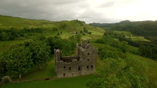 Aerial shot of Carnasserie Castle on the west coast of Scotland
