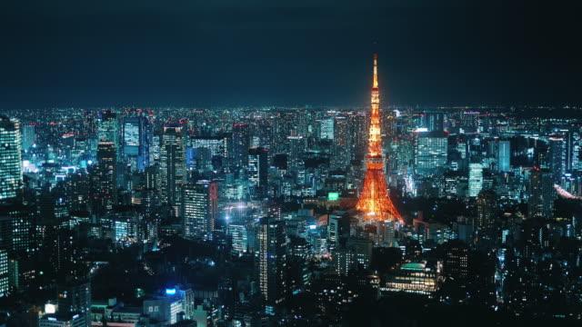 夜の東京中部の空撮 - 陸上競技大会点の映像素材/bロール