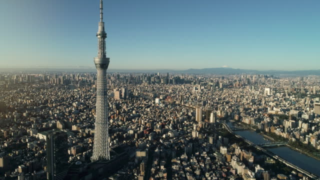 aerial shot of central tokyo city, japan - tokyo japan stock videos & royalty-free footage