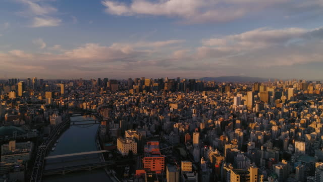 aerial shot of central tokyo city with fuji mountain, japan - town stock videos & royalty-free footage