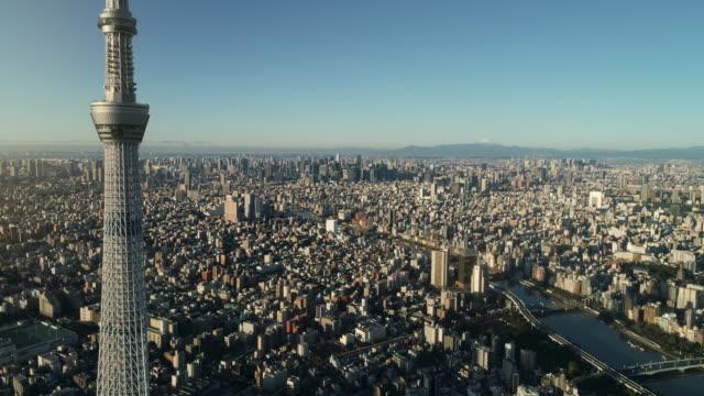 flygbild av centrala tokyo stad med fuji berg, japan - prefekturen tokyo bildbanksvideor och videomaterial från bakom kulisserna