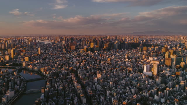 aerial shot of central tokyo city with fuji mountain, japan - non urban scene stock videos & royalty-free footage