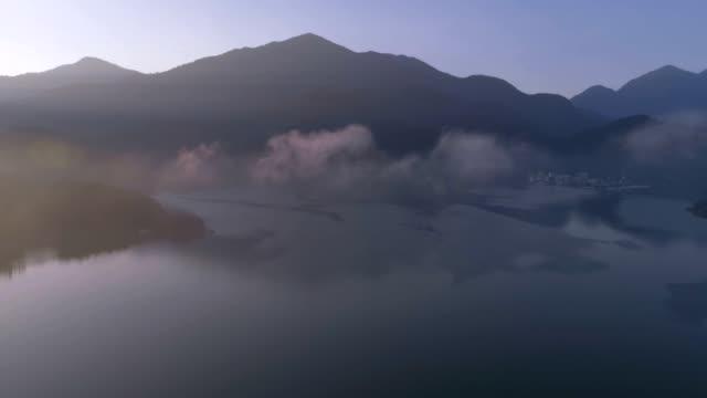 Aerial shot of Chaowu Pier, Sun moon lake, Taiwan