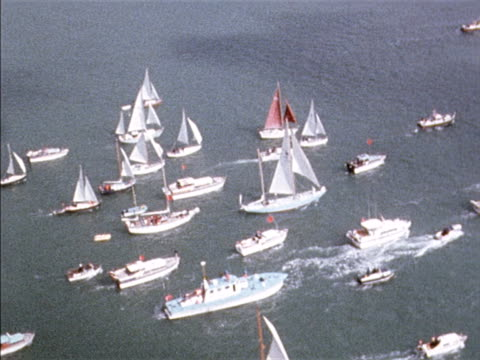 Aerial shot of Chay Blyth's boat British Steel surrounded by a flotilla of boats to welcome him back to the UK after becoming the first person to...