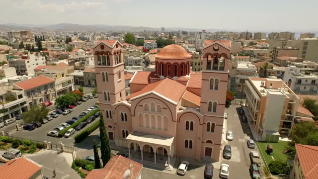 stockvideo's en b-roll-footage met aerial shot of church of panagia in limassol, cyprus - repubiek cyprus