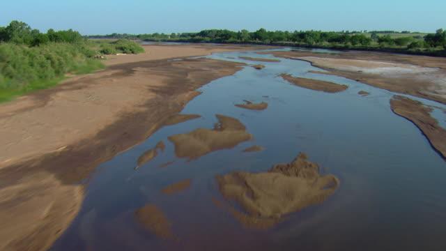 aerial shot of cimarron river oklahoma - oklahoma stock-videos und b-roll-filmmaterial