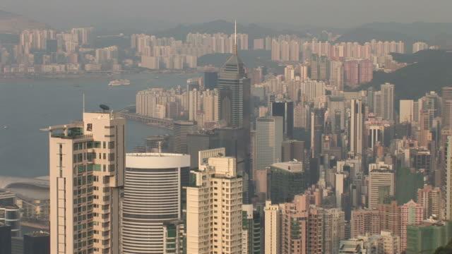 aerial shot of city hong kong china - central plaza hong kong stock videos & royalty-free footage
