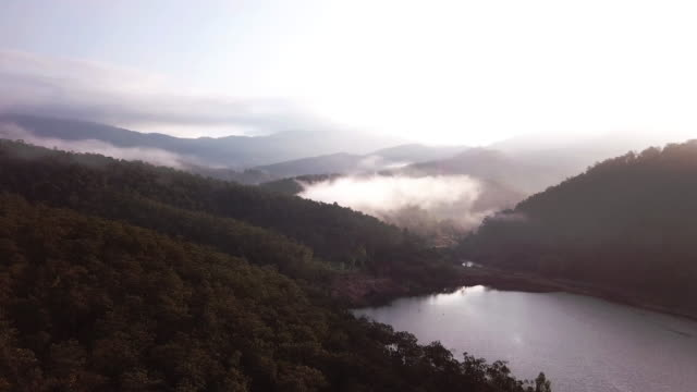 aerial shot of cloud over the lake above the clouds sunrise - mt hood stock videos & royalty-free footage