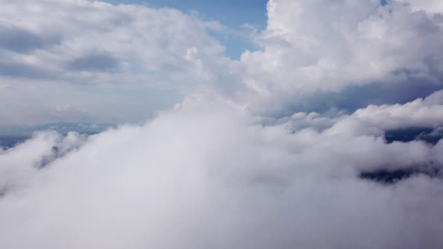 aerial shot of cloud over the lake above the clouds - tilt up stock videos & royalty-free footage