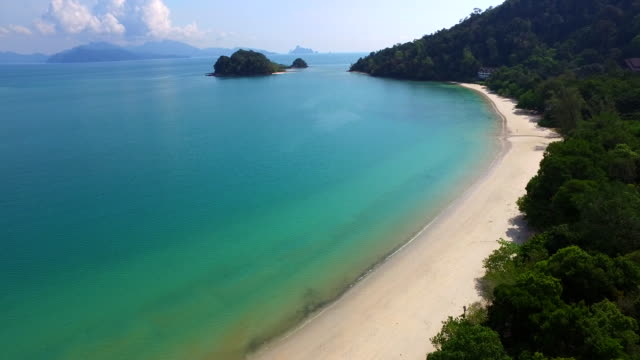 aerial shot of coast & beach / malaysia - coastline stock videos & royalty-free footage