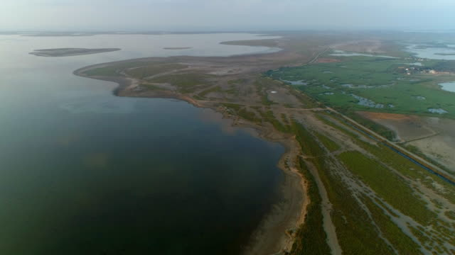 aerial shot of coastline against sky during sunset, drone flying forward over beach - camargue, france - camargue stock-videos und b-roll-filmmaterial